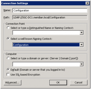 ADSIEdit Connection Settings Dialog Box