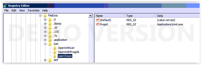 How to fix Windows Batch file association on Server 2008